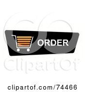 Royalty Free RF Clipart Illustration Of A Black Order Shopping Cart Button On White by oboy