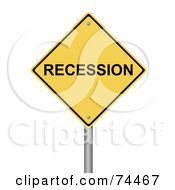Royalty Free RF Clipart Illustration Of A Yellow Recession Warning Sign