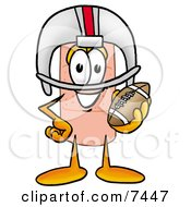 Bandaid Bandage Mascot Cartoon Character In A Helmet Holding A Football by Toons4Biz