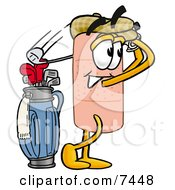 Clipart Picture Of A Bandaid Bandage Mascot Cartoon Character Swinging His Golf Club While Golfing by Toons4Biz