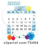 Royalty Free RF Clipart Illustration Of A Floral May 2010 Calendar by mheld