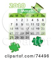 Green March 2010 St Patricks Day Calendar