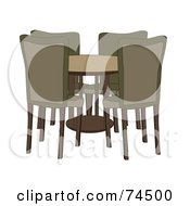 Royalty Free RF Clipart Illustration Of A Round Dining Room Table With Four Chairs by mheld