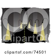 Royalty Free RF Clipart Illustration Of A Deserted City Street With Illuminated Lights Shining On The Pavement by mheld