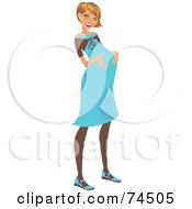 Royalty Free RF Clipart Illustration Of A Happy Dirty Blond Pregnant Woman In A Blue Dress