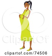 Royalty Free RF Clipart Illustration Of A Happy Pregnant Black Woman Rubbing Her Belly In A Green Dress