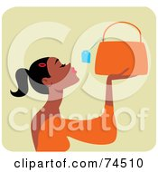Royalty Free RF Clipart Illustration Of A Black Woman Looking At The Price Tag On A Purse by Monica