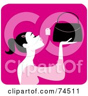 Royalty Free RF Clipart Illustration Of A Black Haired Woman Looking At The Price Tag On A Purse