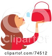 Royalty Free RF Clipart Illustration Of A Brunette Haired Woman Looking At The Price Tag On A Purse