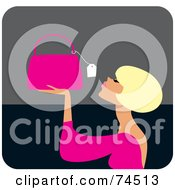 Royalty Free RF Clipart Illustration Of A Blond Haired Woman Looking At The Price Tag On A Purse by Monica