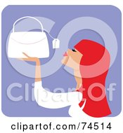 Royalty Free RF Clipart Illustration Of A Red Haired Woman Looking At The Price Tag On A Purse