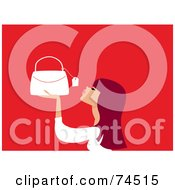 Royalty Free RF Clipart Illustration Of A Redhead Woman Looking At The Price Tag On A Purse by Monica