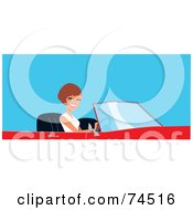 Royalty Free RF Clipart Illustration Of A Pretty Brunette Woman Driving A Red Convertible Car by Monica