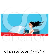 Royalty Free RF Clipart Illustration Of A Pretty Black Haired Woman Driving A Red Convertible Car
