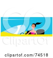 Royalty Free RF Clipart Illustration Of A Happy Woman With Her Hair In A Pony Tail Driving A Yellow Convertible Car by Monica