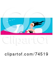 Royalty Free RF Clipart Illustration Of A Happy Woman Driving A Pink Convertible Car by Monica