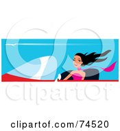Royalty Free RF Clipart Illustration Of A Happy Black Haired Woman Driving A Red Convertible Car by Monica