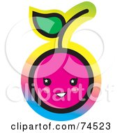 Royalty Free RF Clipart Illustration Of A Pink Cherry Face With A Colorful Gradient