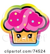 Royalty Free RF Clipart Illustration Of A Pink Frosted Face With A Colorful Gradient