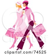 Royalty Free RF Clipart Illustration Of Two Stylish Ladies In Pink Walking And Carrying Shopping Bags