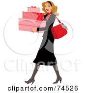 Royalty Free RF Clipart Illustration Of A Stylish Blond Woman Carrying Pink Shopping Boxes by Monica