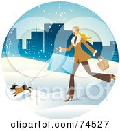 Woman And Dog Running Through The Snow With Shopping Bags