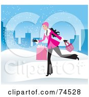 Royalty Free RF Clipart Illustration Of A Woman Running Through The Snow With Shopping Bags In A Blue City by Monica