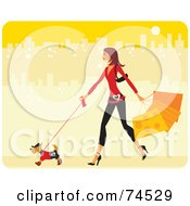 Royalty Free RF Clipart Illustration Of A Stylish Woman Walking Her Stylish Dog And Carrying Shopping Bags In A Yellow City