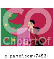 Royalty Free RF Clipart Illustration Of A Happy Woman Setting Gift Bags Under A Christmas Tree by Monica