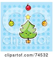 Royalty Free RF Clipart Illustration Of A Happy Christmas Tree With Baubles And A Star Over A Blue Starry Background by Monica
