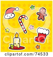 Santa Hat Candy Cane Gingerbread Man Stocking And Candle With Stars On Yellow