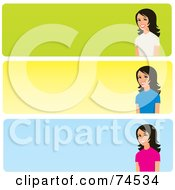 Royalty Free RF Clip Art Illustration Of A Digital Collage Of Three Colorful Website Banners With Women On The Right Side
