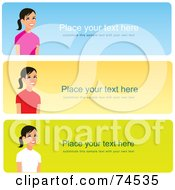 Royalty Free RF Clipart Illustration Of A Digital Collage Of Three Colorful Website Banners With Women On The Left Side