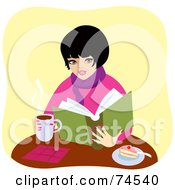 Royalty Free RF Clipart Illustration Of A Warm Woman Drinking Coffee And Eating Cake While Reading A Book