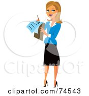 Blond Female Surveyor Or Businesswoman Using A Check List