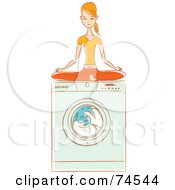 Royalty Free RF Clipart Illustration Of A Woman Meditating On Top Of Her Washing Machine