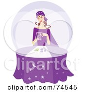 Royalty Free RF Clipart Illustration Of A Young Gypsy Telling Fortunes At A Purple Table