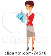Brunette Female Surveyor Or Businesswoman Using A Check List
