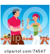 Royalty Free RF Clipart Illustration Of A Handsome Man And Woman Eating Shish Kebabs At A Bbq by Monica
