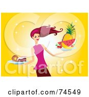 Royalty Free RF Clipart Illustration Of A Red Haired Woman Serving Fruit And Desserts