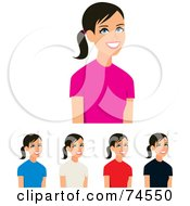 Royalty Free RF Clipart Illustration Of A Digital Collage Of A Teen Girl Wearing Different Colored T Shirts