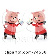 Royalty Free RF Clipart Illustration Of A Pig Shown In Two Poses Reading With A Happy And Grumpy Expression by Monica