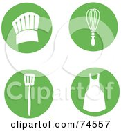 Royalty Free RF Clipart Illustration Of A Digital Collage Of Green Circles With Cooking Items by Monica