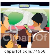 Man And Boy Watching A Woman Use A Cell Phone In A Car