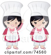 Royalty Free RF Clipart Illustration Of A Digital Collage Of A Little Asian Chef Girl Waving And Standing