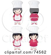 Royalty Free RF Clipart Illustration Of A Digital Collage Of An Asian Chef Girl