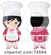 Royalty Free RF Clipart Illustration Of A Digital Collage Of A Little Asian Chef Girl Facing Front And Away