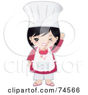 Royalty Free RF Clipart Illustration Of A Little Asian Chef Girl Winking And Waving