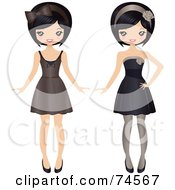 Royalty Free RF Clipart Illustration Of A Digital Collage Of A Teenage Asian Girl In Different Dresses by Melisende Vector