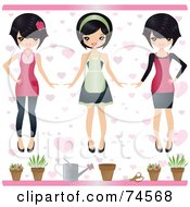 Royalty Free RF Clipart Illustration Of A Digital Collage Of A Gardener In Different Clothes by Melisende Vector